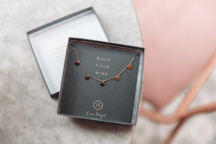 Move Your Mind necklace in box