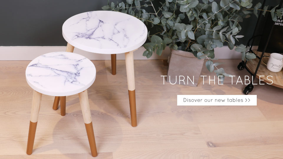 Gold dipped marble side tables - shop minimalist furniture >>