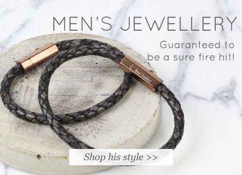 Men's jewellery - shop his style >>