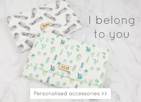 Personalised travel wallets and accessories - UK designed accessories >>