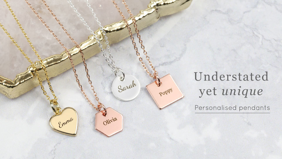 Personalised pendant necklaces - Shop personalised necklaces >>