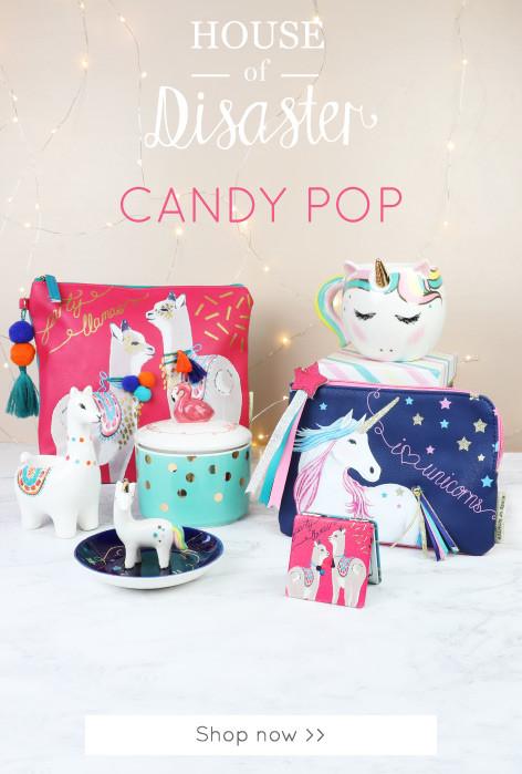 Unicorn, llama and flamingo homeware - Shop House of Disaster Candy Pop range >>