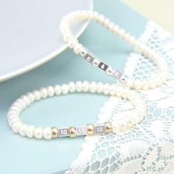 Handmade Button Pearl Secret Message Bracelet