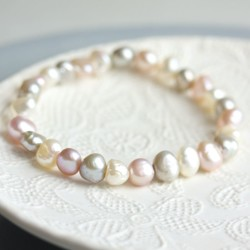 Multi Coloured Freshwater Pearl Stretch Bracelet