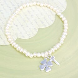 Handmade Seed Pearl Good Luck Bracelet With Initial