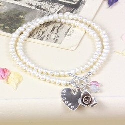 Personalised Seed Pearl Wrap Bracelet with Rose