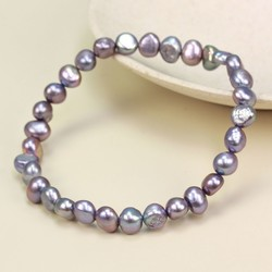 Dark Grey Freshwater Pearl Stretch Bracelet