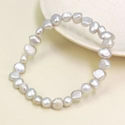 Silver Grey Freshwater Pearl Stretch Bracelet