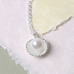 'Ariel' Silver Shell and Pearl Necklace