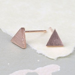 Tiny Brushed Rose Gold Triangle Stud Earrings