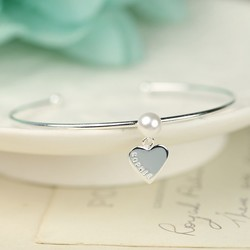 Personalised Silver Pearl Bangle with Name