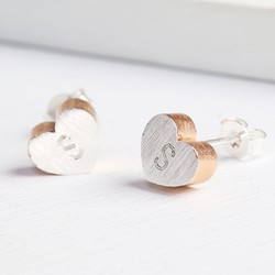 Personalised Brushed Silver & Rose Gold Heart Stud Earrings