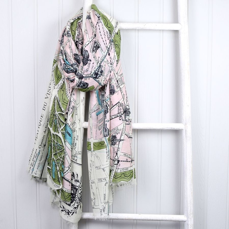 map scarves  map print scarf  lisa angel - one hundred stars streets of paris map scarf
