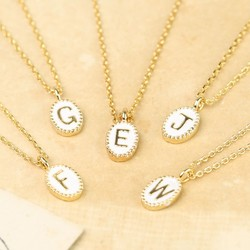 Tiny Gold Enamel Initial Necklace