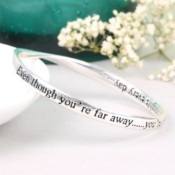 Silver 'Even Though You Are Far Away' Meaningful Word Bangle