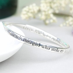 Silver 'Daughter' Meaningful Word Bangle