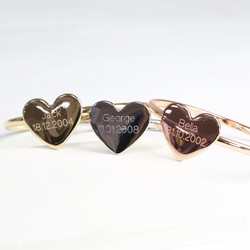Personalised Set of Mixed Metal Heart Bangles