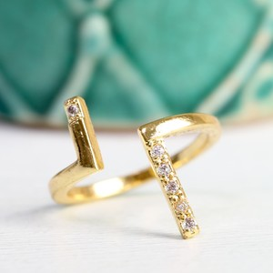 Diamante Adjustable Double Bar Ring