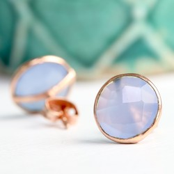 Clare Blue Chalcedony Stone & Rose Gold Stud Earrings