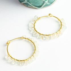 Olivia Hoop Earrings with Aquamarine Stones