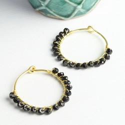 Olivia Hoop Earrings with Black Onyx Stones