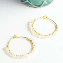 Olivia Hoop Earrings with Rainbow Moonstones