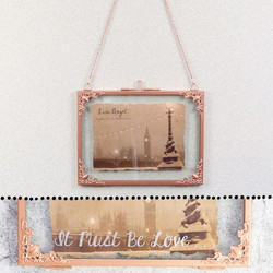 Personalised Small Rectangular Hanging Filigree Copper Frame