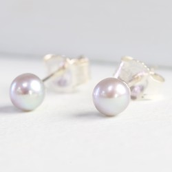 Tiny Grey Sterling Silver Freshwater Pearl Stud Earrings