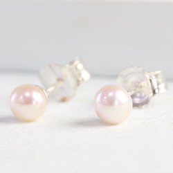 Tiny Ivory Sterling Silver Freshwater Pearl Stud Earrings