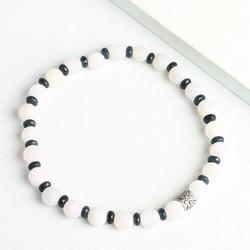 Men's White and Teal Stone Beaded Bracelet