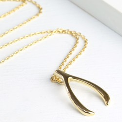 Estella Bartlett Lucky Wishbone Necklace in Gold