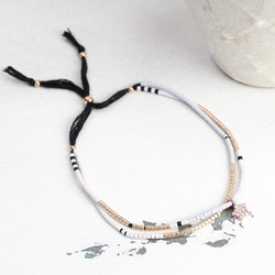 Estella Bartlett Phoebe Seed Bead Bracelet in White & Rose Gold