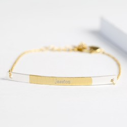 Personalised Silver & Gold Dipped Curved Bar Bracelet