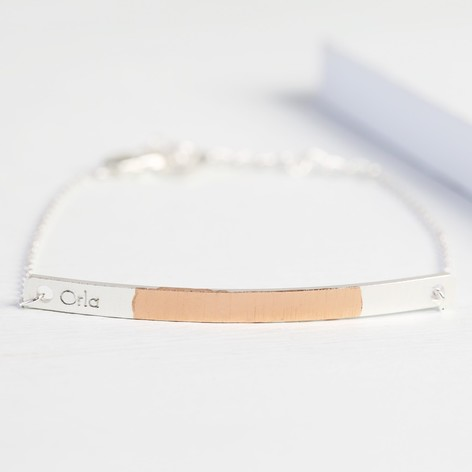 Personalised Silver & Rose Gold Dipped Curved Bar Bracelet
