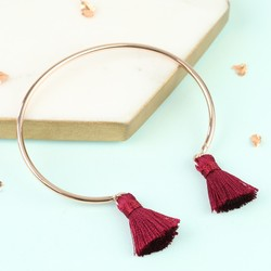 Delicate Rose Gold Bangle with Burgundy Tassels