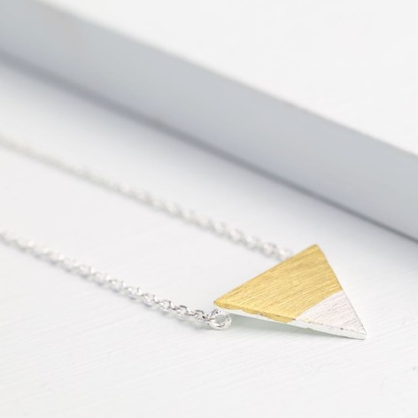 Gold Dipped in Silver Triangle Necklace