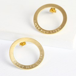 Personalised Brushed Gold Circle Earrings