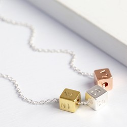 Personalised Triple Mixed Metal Cube Necklace