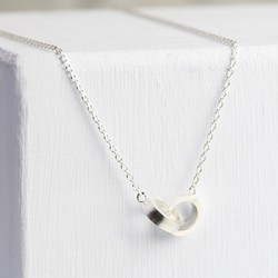 Brushed Silver Linked Disc Necklace