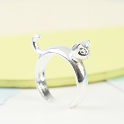 Open Silver Cat Ring