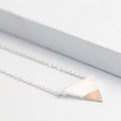 Silver Dipped in Rose Gold Triangle Necklace