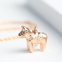 Rose Gold Mini Lucky Horse Necklace