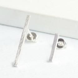 Asymmetric Silver Bar Earrings