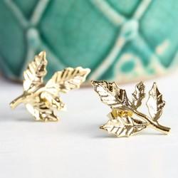 Gold Fern Leaf Stud Earrings