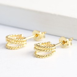 Gold Triple Stand Out Circle Stud Earrings