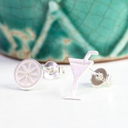 Mismatched Silver Cocktail Glass & Slice Stud Earrings