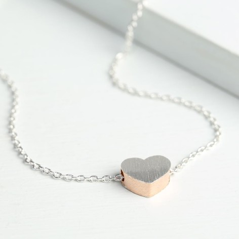 Brushed Silver & Rose Gold Heart Necklace