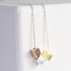 Triple Mixed Metal Cube Necklace