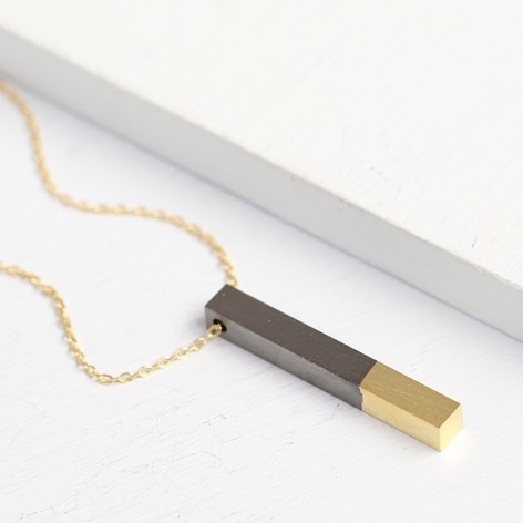 Black Dipped in Gold Bar Necklace