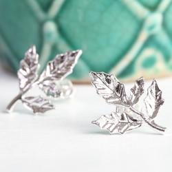 Silver Fern Leaf Stud Earrings